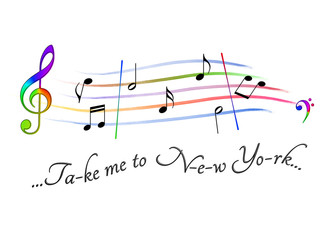 Musical score colored Take me to New York