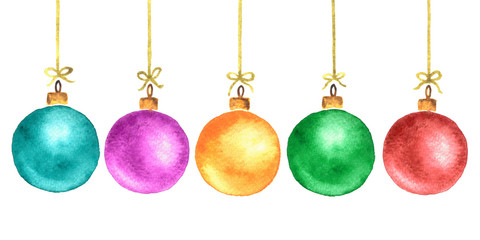 Multicolored watercolor Christmas tree balls. Hand painted New Year decoration