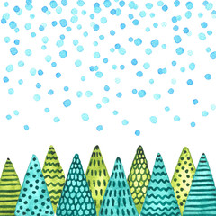 Christmas trees under snowfall. Watercolor Christmas and New Year illustration
