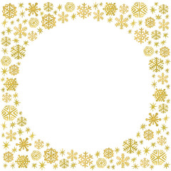 Watercolor Christmas and New Year template with a frame of gold hand painted snowflakes and sparkles