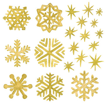 Watercolor snowflakes and stars in gold. Christmas and New Year clip art collection