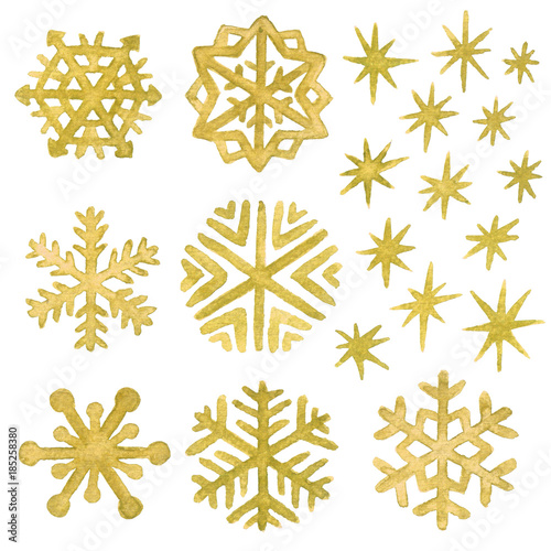 watercolor snowflakes and stars in gold christmas and new year clip art collection