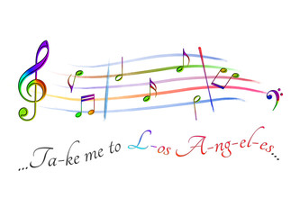 Musical score colored Take me to Los Angeles