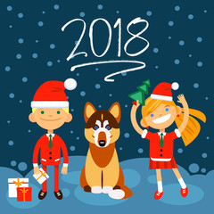 2018 new Year illustration. Dog, boy and girls on dark-blue background. the Fun characters in the New Year, Christmas costumes. Vector design element for congratulation cards, banners and other