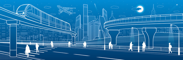 Monorail bridge across the highway. Road overpass. Urban infrastructure, modern city on background, industrial architecture. People walking. White lines illustration, night scene, vector design art