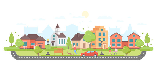 Residential area - modern flat design style vector illustration