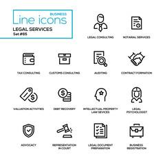 Legal services - line design icons set