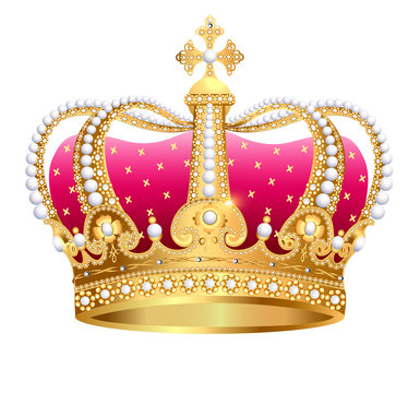illustration gold(en) royal crown insulated on white background