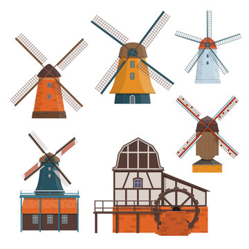 Set of traditional rural windmill and watermill
