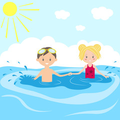 Children swim in the swimming pool
