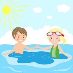 Children swim in the swimming pool