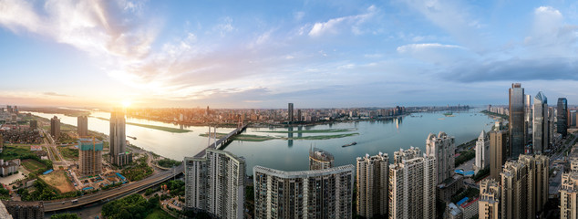 suspension bridge and modern residential district near haihe river in tianjin in blue cloud sky Papier Peint