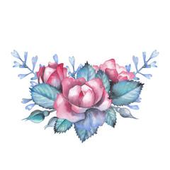 Watercolor rose vignette
