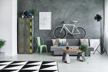 Monochromatic living room with bike