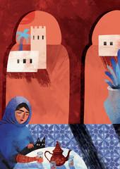 Morocco travel illustration