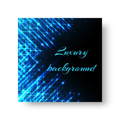 Square Birthday greeting card design with bright blue neon rays