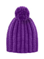 Violet woolen winter cap hat with a pom pom pompon isolated on white
