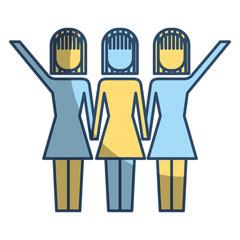three women holding hands teamwork successful vector illustration