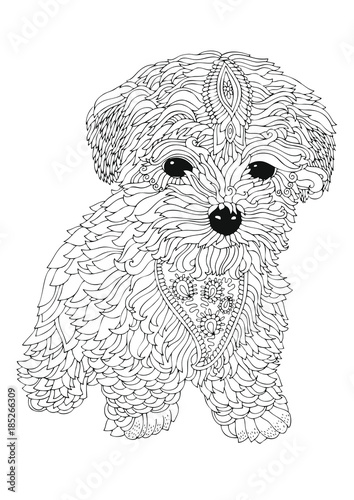 Hand Drawn Dog Sketch For Anti Stress Adult Coloring Book