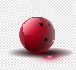 Red Bowling Ball isolated on transparent background. Vector illustration.