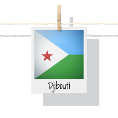 African country flag collection with photo of Djibouti flag , vector , illustration