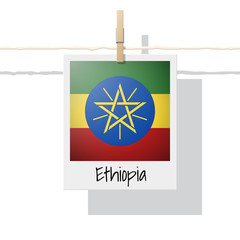 African country flag collection with photo of Ethiopia flag , vector , illustration