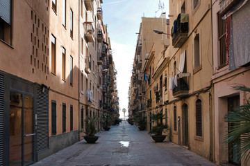 narrow alley in Barceloneta neighborhood, Barcelona