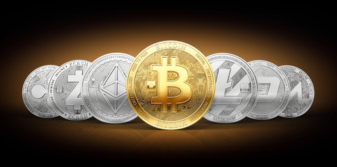 Set of 7 different cryptocurrencies and a golden bitcoin on the front as the most known cryptocurrency. 3D rendering