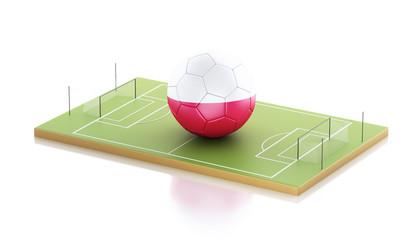 3d Poland flag and soccer ball.