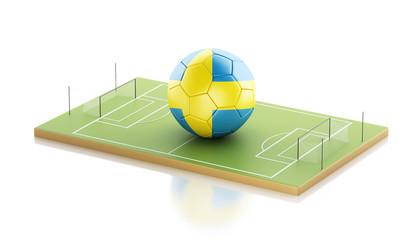 3d Sweden flag and soccer ball.