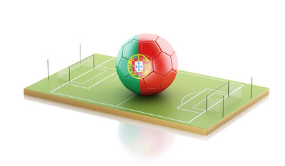 3d Portugal flag and soccer ball.