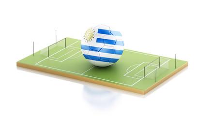 3d Uruguay flag and soccer ball.