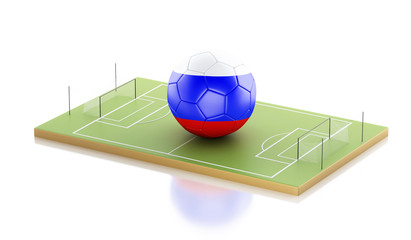 3d Russia flag and soccer ball.