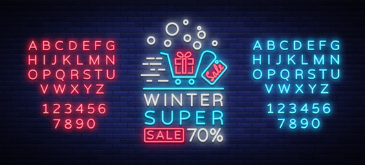 Winter sales banner in neon style. Vector illustration on Winter, New Year and Christmas discounts and sales. Neon sign, bright sign, advertising, postcard, neon poster. Editing text neon sign