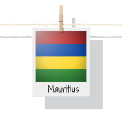 African country flag collection with photo of Mauritius flag , vector , illustration