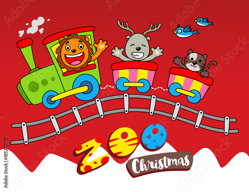 Christmas At The Zoo.Christmas At The Zoo Stock Image And Royalty Free Vector