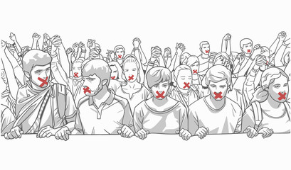 Illustration of young crowd protesting and holding hands with red tape on their mouth