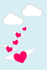 Flat design of Lovely heart with wing is flying in the sky. Love and Valentine's Day card concept. Picture with copy space
