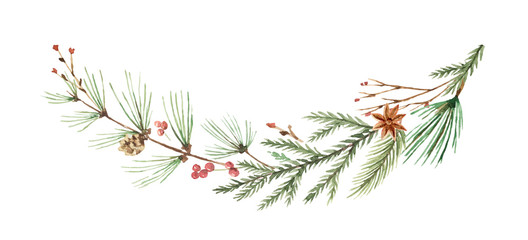 Watercolor vector Christmas wreath with fir branches and place for text.