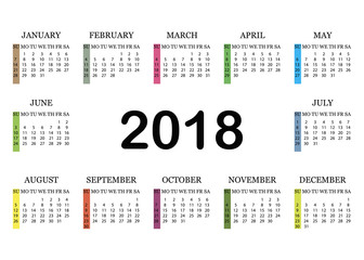 Calendar 2018. Simple Calendar template for year 2018. White background. Vector illustration