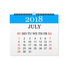 Monthly calendar 2018. Tear-off calendar for July. White background. Vector illustration