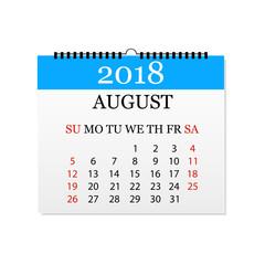 Monthly calendar 2018. Tear-off calendar for August. White background. Vector illustration