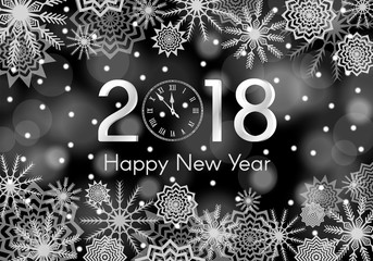 Black and white New Year 2018 concept. Falling snow background with flares and sparkles.  Snowflakes abstract. Winter thunder. Vector illustration