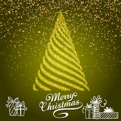 Merry Christmas and Happy New Year 2018 greeting card, vector illustration. EPS10