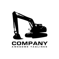 Excavators Construction machinery logo, Hydraulic mining excavator vector logo,. Heavy construction equipment symbol with boom dipper and bucket. Construction machinery for digging sand gravel or dirt