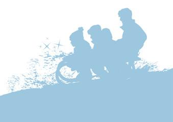 Silhouetten Vater mit Kindern auf Schlitten