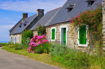 Bretagne Haus mit Hortensien - typical old house and hydrangea flower in Brittany