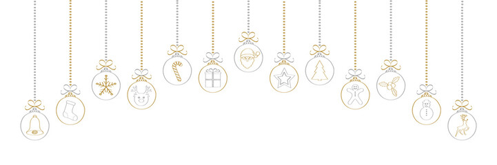 Christmas garland with decorations. Vector.