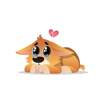 Abandoned little corgi with tears on eyes. Lonely puppy lies with broken pink heart over his head. Cartoon dog character. Domestic animal. Flat vector design