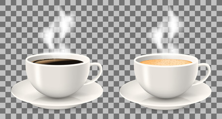 Two hot cups of coffee with steam on saucers. Objects on the transparent background. Americano, latte and cappuccino coffee.